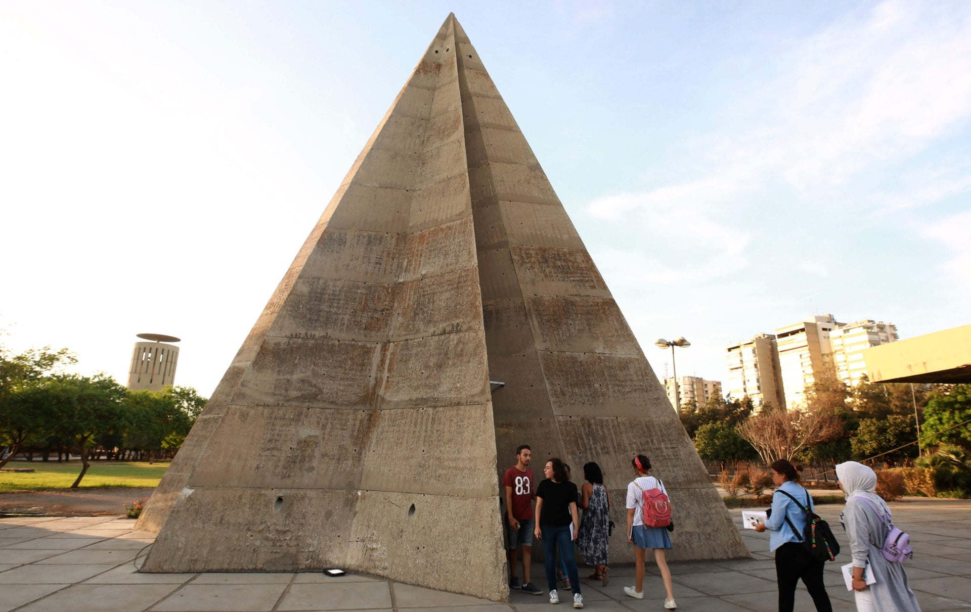 The stone pyramid during an exhibiton at the grounds of the Tripoli International Fair.