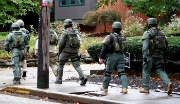 A SWAT team arrives at the Tree of Life Synagogue in Pittsburgh, October 27, 2018.