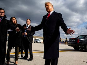 U.S. President Donald Trump speaks about the shooting in Pittsburgh, under the wing of Air Force One at Indianapolis International Airport, in Indianapolis, IN, U.S., October 27, 2018