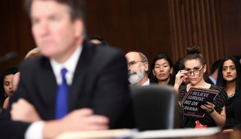 Actor and activist Alyssa Milano listening as Supreme Court nominee Brett Kavanaugh testifies before the Senate Judiciary Committee on Capitol Hill in Washington, September 27, 2018.