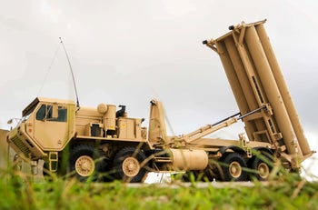 A U.S. Army Terminal High Altitude Area Defense (THAAD) weapon system is seen on Andersen Air Force Base, in Guam, October 26, 2017.