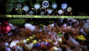 A makeshift memorial is seen outside the Tree of Life Congregation October 30, 2018 in Pittsburgh, Pennsylvania
