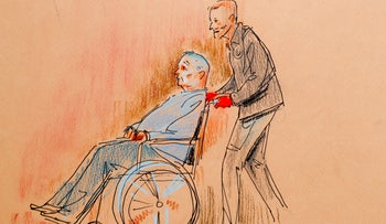 This courtroom sketch depicts Robert Bowers, who was wounded in a gun battle with police as he appeared in a wheelchair at federal court on Oct. 29, 2018, in Pittsburgh.