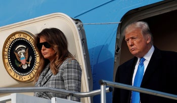 U.S. President Donald Trump and first lady Melania Trump exit Air Force One as they arrive in Pittsburgh, October 30, 2018