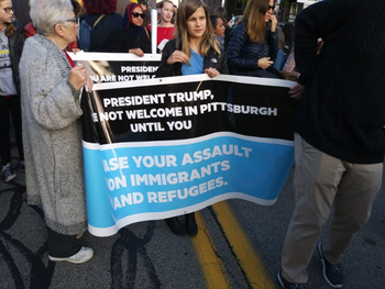 A large demonstration led by Jewish activists in Pittsburgh against President Donald Trump's visit, blocks from Tree of Life synagogue, October 30, 2018.