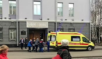 An ambulance carries a casualty after an explosion at the entrance of an FSB office, Akhangelsk, Russia, October 31, 2018