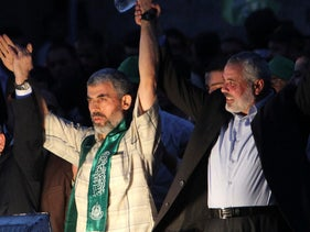Hamas leaders Yahya Sinwar and Ismail Haniyeh, October 2011.