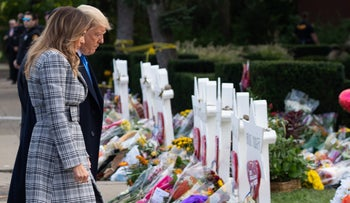 President Donald Trump and First Lady Melania Trump pay their respects at the Tree of Life Synagogue following last weekend's shooting in Pittsburgh, Pennsylvania, October 30, 2018.