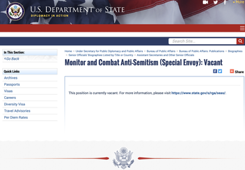 The U.S. Department of State website with the vacant position of special envoy to monitor and combat anti-Semitism.