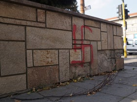 A swastika across the street from a school and near Sofia's Jewish House of Culture.