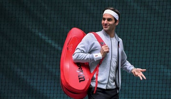 Switzerland's Roger Federer arrives to attend a training session during the ATP World Tour Masters 1000 - Rolex Paris Masters - indoor tennis tournament at The AccorHotels Arena in Paris, on October 30, 2018