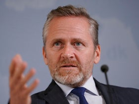 Danish Foreign Minister Anders Samuelsen gives a press conference in Copenhagen, October 30, 2018.