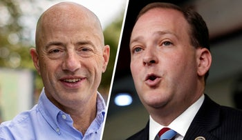 Democratic challenger Perry Gershon, left, and Republican incumbent Lee Zeldin. They share a common religion but little else as they battle it out in New York's 1st Congressional District.