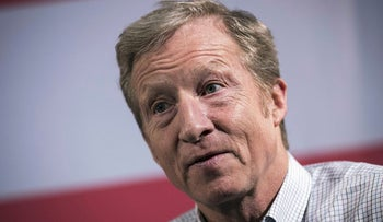In this file photo taken on January 28, 2018, Hedge fund billionaire and Democratic fundraiser Tom Steyer speaks during a town hall in New York City. Steyer is the founder of the Need To Impeach initiative and is the largest individual donor in Democratic politics