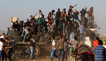 Protesters near the Gaza-Israel border, September 21, 2018