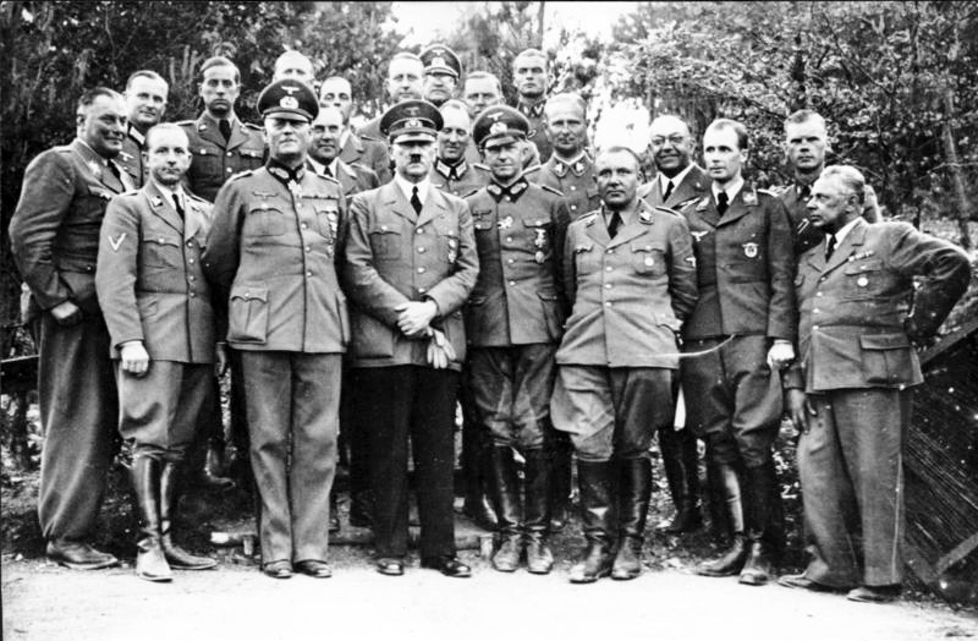 Adolf Hitler and his staff in June 1940. His private doctor, Theodor Morell, is fourth from the right.