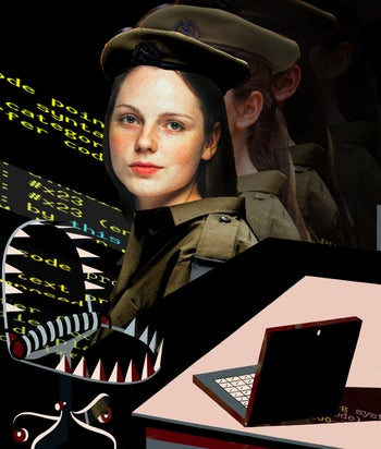 A poster of a female coder.
