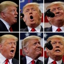 U.S. President Donald Trump is seen during a campaign rally in this combination photo in Estero, Florida, U.S., October 31, 2018