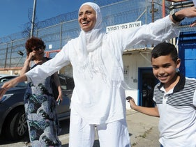 Dareen Tatour upon her release from prison.