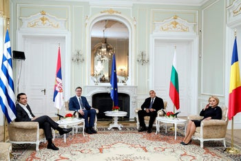 Leaders of Bulgaria, Greece, Romania and Serbia  pose for a photograph during a quadliteral summit in Varna, today.