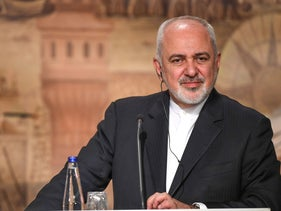 Iranian Foreigner Minister Mohammad Javad Zarif during press conference, Istanbul, October 30, 2018.