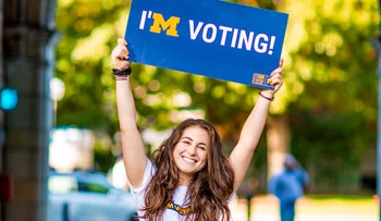 University of Michigan student Ali Rosenblatt is working with Hillel's MitzVote campaign to get out the vote in the U.S. midterms.