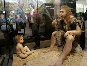 Reconstruction of Neanderthal and child. Museum for Prehistory in Eyzies-de-Taya