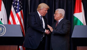 President Donald Trump shakes hands with Palestinian President Mahmoud Abbas after making statements to the press, May 23, 2017.