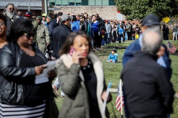 A line forming for early voting at the Hamilton County Board of Elections, in Cincinnati, Ohio, November 4, 2018.