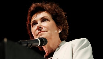 Democratic Senate candidate Rep. Jacky Rosen speaking at a rally in Las Vegas, October 25, 2018.