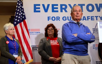Former New York City Mayor Michael Bloomberg taking questions after speaking at a Moms Demand Action gun safety rally in Nashua, New Hampshire. October 13, 2018.