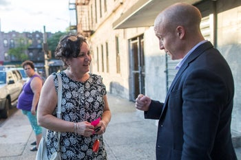 Democratic congressional candidate Max Rose canvassing in the Bay Ridge neighborhood of the Brooklyn borough of New York, October 3, 2018.