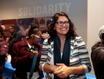 Democratic U.S. congressional candidate Rashida Tlaib attending a midterm campaign rally at a union hall in Detroit, Michigan, November 4, 2018.