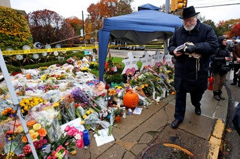 Rabbi Chuck Diamond arriving on the street corner outside Pittsburgh's Tree of Life synagogue on November 3, 2018, a week after the mass shooting there killed 11 Jewish worshippers.