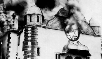 Synagogue of Siegen, Germany, set on fire by the Nazis during Kristallnacht. 9 November 1938