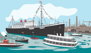 An illustration of the SS St. Louis, which set sail from Europe in May 1939 with over 900 refugees, most of them Jews, and was turned back by Cuba and the United States, forcing the ship back to the Continent.