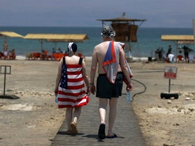 Two tourists at the Dead Sea, Ein Gedi, July 7, 2009.