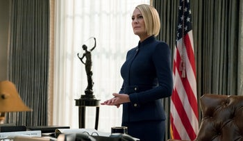 "Robin Wright in a scene from the final season of ""House Of Cards."""