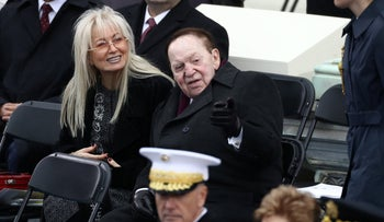 Sheldon and Miriam Adelson at Trump's inauguration in Washington, D.C., Jan. 20, 2017
