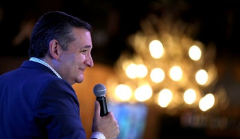 U.S. Sen. Ted Cruz (R-TX) speaks during a Get Out The Vote Bus Tour rally on November 5, 2018 in Cypress, Texas.