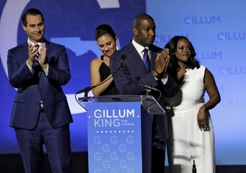 Florida Democratic gubernatorial candidate Andrew Gillum thanks his supporters after delivering his concession speech Tuesday, November 6, 2018