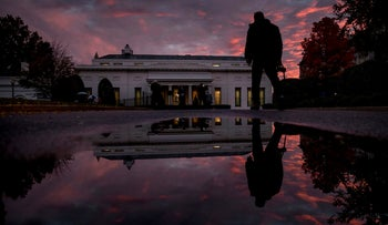 The West Wing of the White House at sunset on election day in Washington, November 6, 2018.