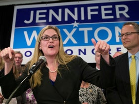 Democrat Jennifer Wexton speaking at her election night party after defeating Rep. Barbara Comstock, in Dulles, Virginia, November 6, 2018.