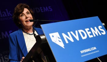 U.S. Rep. and U.S. Senate candidate Jacky Rosen (D-NV) speaks after winning her Senate race against U.S. Sen. Dean Heller (R-NV) at the Nevada Democratic Party's election results watch party at Caesars Palace on November 7, 2018 in Las Vegas, Nevada.