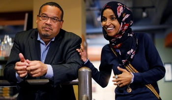 Newly-elected U.S. Democratic Congresswoman Ilhan Omar and State Attorney General Keith Ellison during their campaign for office, in Minneapolis, Minnesota, on October 26, 2018.