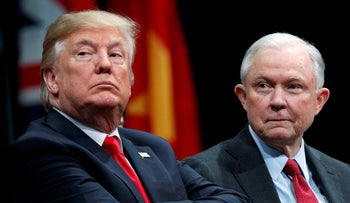 U.S. President Donald Trump and Attorney General Jeff Sessions during the FBI National Academy graduation ceremony in Quantico, Va, 2017.
