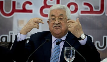 Abbas speaks during a meeting of the Central Council of the Palestinian Liberation Organization in the West Bank city of Ramallah, Sunday, Oct. 28, 2018.