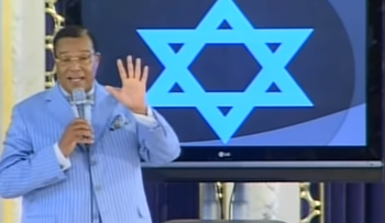 Louis Farrakhan 'explains' the Jewish Star of David during a lecture entitled 'Who Are The Real Children of Israel: The Proof, July 11, 2010