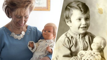 Lore Mayerfeld today and as a child with her doll Inga.
