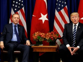 U.S. President Donald Trump meets with President Recep Tayyip Erdogan of Turkey during the U.N. General Assembly in New York, U.S., September 21, 2017
